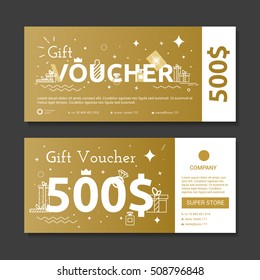 Set of gold voucher. Certificate diamond purchase in the value of the stores.