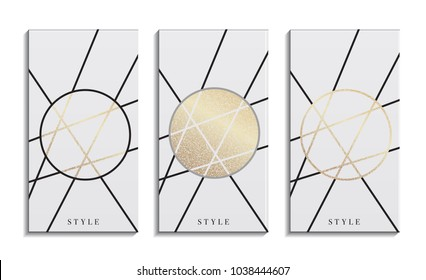 Set of  gold and white business card template or gift cards. Texture of gold foil. Luxury vector illustration. Easy editable template. Space for text. Vector