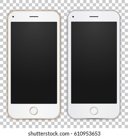 Set of gold and white smart phone with empty screen and shadows on transparent background to present your app, design. Vector illustration.