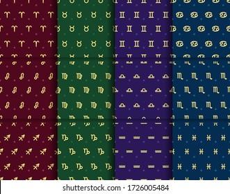 Set of gold zodiac signs seamless patterns. Repeated horoscope elements. Astrologycal symbols: Aries, leo, sagittarius, taurus, virgo, capricornus, gemini, libra, aquarius, cancer, scorpio, pisces