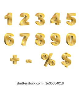 Set of golden 3d vector numbers. One, two, three, four, five, six, seven, eight, nine, zero, dollar, percentage, addition. Isolated 3D letters, on a white background, editable, symbol of discount