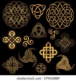 set of golden Ancient pagan Scandinavian sacred symbols and ornaments - Celtic cross, knot, a symbol of the Druids, Triskele, Odin's Horn