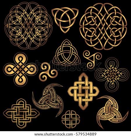 Set Golden Ancient Pagan Scandinavian Sacred Stock Vektorgrafik