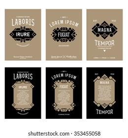 set golden art deco monochrome luxury hipster   vintage vector flyer or poster with frame border label  for your club bar cafe restaurant hotel boutique