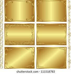 set of golden  backgrounds -  vector illustration