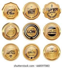 Set of golden badges