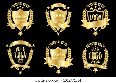 Set of golden badges realistic icons isolated on black background