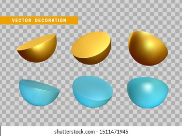 Set Golden and blue Half round sphere volumetric ball. 3d Geometric Shapes Objects. Realistic geometry element. Render Decorative figure for design. vector illustration