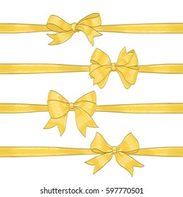 set of golden bows on white. hand drawn vector illustration. collection of design decorative elements for celebration greetings, invitations