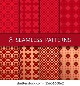 Set of golden chinese seamless pattern, vector illustration