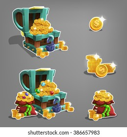 Set of golden coins in chest and bag. Vector illustration.