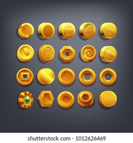 Set of Golden coins or reward icon for game interface. Cartoon achievement decoration for game. Vector illustration.
