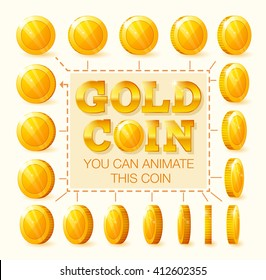 Set of golden coins rotation frames for animation, game or app interface.