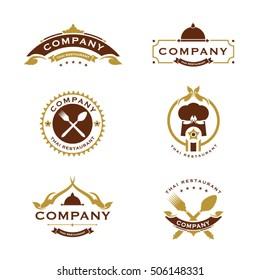 Set of golden color Thai food logo