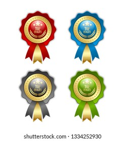 Set of golden and colored Top quality rosettes placed on white background