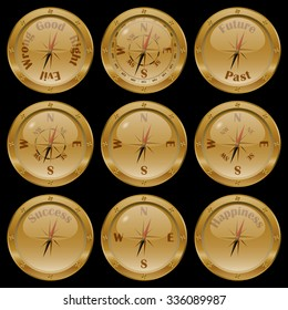 "Set of golden compasses on black background, including conceptual compasses: ""moral compass"" (good or evil, right or wrong), future or past, success, and happiness."
