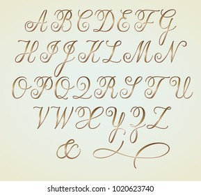 Set of Golden Copperplate Monogram Letters Alphabet