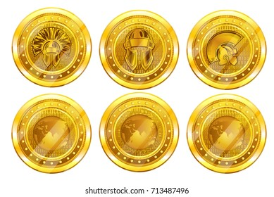 Set of golden cry pto coins, bit coin or titan back and front side. Vector Illustration isolated on white background