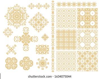 Set of golden decorative elements - ornamental rosette, mandala, ornamental vector border ribbon, openwork texture oriental style, on white background