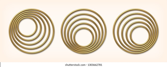Set of golden eccentric circle frames. Luxury gold borders or banners. Abstract circle elements.