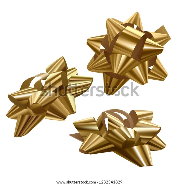 Set of golden, festive bows in different angles on white background, vector illustration