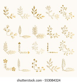 Set of golden floral corners. Hand drawn ink illustration. Vector isolated.