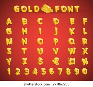 Set golden font (letters, numbers, symbols: currency, dollar, euro)