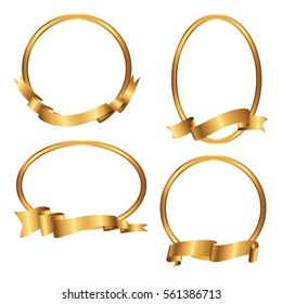 Set of golden frames with ribbons. Collection of gold borders. Vector illustration