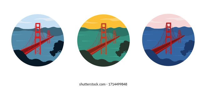 Set of Golden Gate bridge illustrations in different colors shaped in round badge. Red bridge across the ocean. San Francisco, California, United States of America.