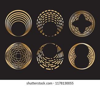 Set of golden geometric circle shape and design elements