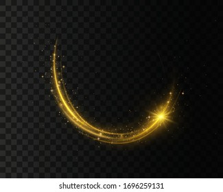 Set of golden, glittering magic vector waves with gold particles isolated on transparent background.  Sparkling light trails. Futuristic Flash. Glowing shiny spiral lines effect.