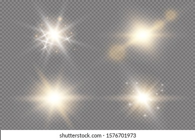 Set of golden glowing lights effects existing on a transparent background. A flash of sun with rays and spotlight. Glow effect. The star burst with brilliance.
