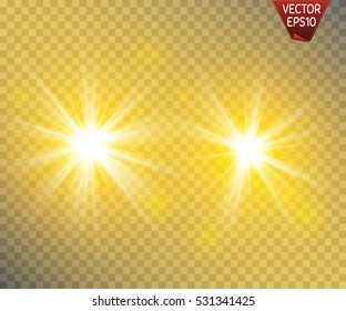 Set of golden glowing lights effects isolated on transparent background. Sun flash with rays and spotlight. Glow light effect. Star burst with sparkles.