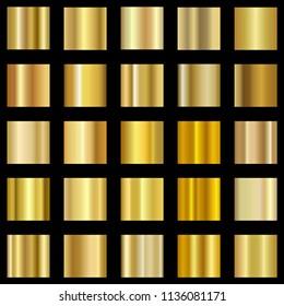 Set of golden gradient. Gold gradient collection. Vector EPS 10.