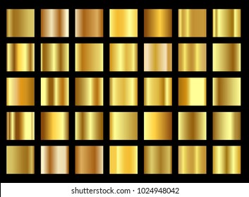 Set of golden gradient templates collection. Realistic shiny metall.Design for award, sale, background, web. Vector Illustration