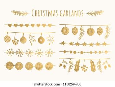 Set of golden hand drawn garlands. Christmas vector design. Foil texture.