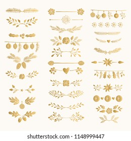 Set of golden hand drawn winter text decoration. Gold foil dividers and separators.