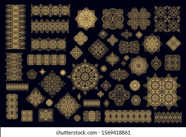 Set of golden  laced vector border ornaments, decorative elements, rosettes on dark background