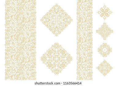 Set of golden laced vector ornamental borders and ornamental rhombus on white background, oriental style