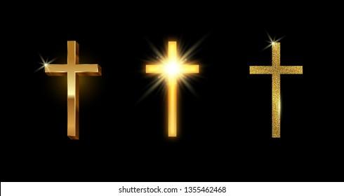 Set of golden latin cross. Shining glitter gold catholic cross. Vector illustion.