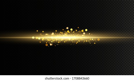 Set of golden light effects. Flashes and glares. Bright rays of light. Glowing lines. Vector illustration. Christmas flash. dust.