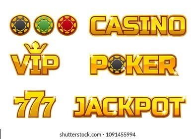 Set golden logo JACKPOT, POKER, 777, CASINO and VIP. Gold play chips