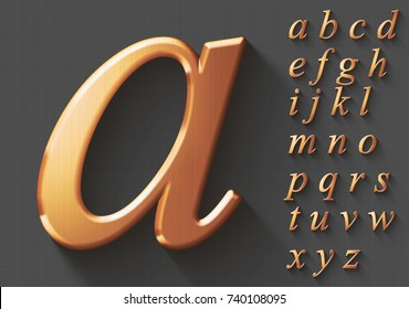 Set of golden luxury 3D lowercase english letters. Golden metallic shiny italic alphabet on gray background. Good font for wealth and jewel concepts. Transparent shadow, EPS 10 vector illustration