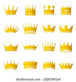 Set of golden modern crowns icons