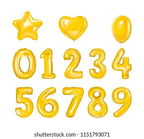 Set of golden number balloons. Helium balloon in heart and star shape.Decoration for birthday party. Isolated vector illustration