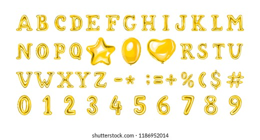 Set of golden number and letter balloons. Helium balloon in heart and star shape. Full 3d alphabet. Decoration for birthday party. Isolated vector illustration