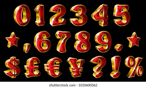 Set of golden numbers and currency symbols on black background. Ideal for adverts, brochure, flyer and any kind of decoration.