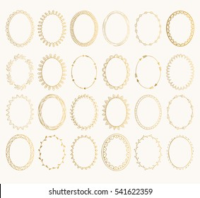 Set of golden oval hand drawn frames. Vector design elements. Fancy illustration. Isolated