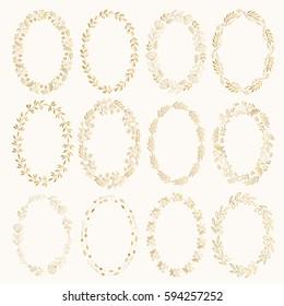 Set of golden oval wreaths