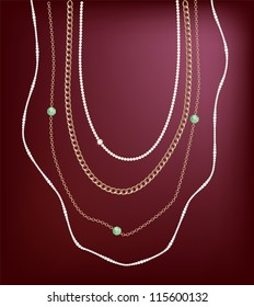 A set of golden, pearl & diamond jewelery chains.